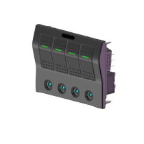 allpa Spritzwasserdicht Schalttafel 12V, ABS, with auto fuse und LED-Indikator