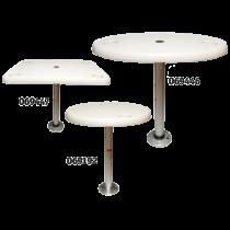 Kunststoff Tische mit Aluminium Tischbein