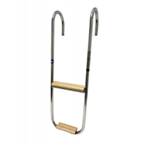 Niro Badeleiter 3-Stufen Festmontierter Spiegelstütze; Teak Holzene Stufen