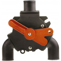 """Johnson Pump Y-Ventil für Fäkalien, 3x 1-1/2"""" ( Ø38mm ), 1x 1"""" ( Ø25mm ), mit 50mm Nabeverlängerung für Wanddurchführung"""
